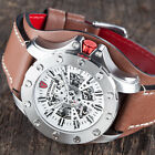 DETOMASO ROTORE Mens Watch Automatic Stainless Steel Brown Leather Band New