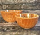 Fire King Orange Lusterware Nesting Bowls 2 Vintage Pyrex Mixing Glass Oven Ware