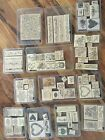 Huge lot of retired Stampin Up wood mounted stampsmost are new