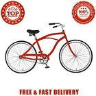 Red Cycle Force Cruiser Style Mens Bicycle 26 Inch Steel Frame Single Speed Rims