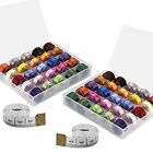 Paxcoo 50 Pcs Bobbins And Sewing Thread With Case And 2 Pcs Soft Measuring Tapes