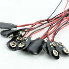 10pcs PP3 MN1604 9V Battery Holder Clip Snap On Black Leather Connector Cable TR