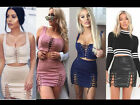 Women 2 Piece Co Ord Twin Set Lace up Eyelet Crop Top Bodycon Skirt PU Party