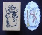 Very Rare LIL OLD FASHIONED Winter SNOWMAN Vintage Look wood rubber stamp