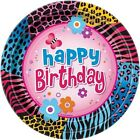 ANIMAL PRINT Wild Birthday LARGE PAPER PLATES 8 Party Supplies Dinner Lunch