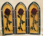 Vintage Small Stained Glass Folding Screen Green Amber Red Rose 13 In by 11 In