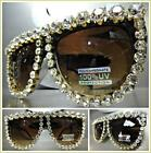 OVERSIZED VINTAGE RETRO Style MODELING SUN GLASSES Huge Crystals Stones Handmade
