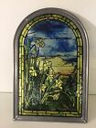 Vintage AMM Stained Glass Window Suncatcher w Pewter Frame 11 1 2 T x 7 7 8 W