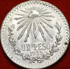 Uncirculated 1935 Mexico Peso Silver Foreign Coin Free S/H