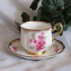 ROYAL ALBERT FOOTED CUP & SAUCER PINK FLORAL BOUQUET BONE CHINA TEACUP ANTIQUE