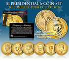 2016 Presidential 1 Dollar GOLDEN HUE LIVING PRESIDENTS 6 Coin Set with Trump