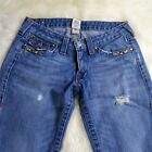 True Religion Cropped Joey With Vintage Beading In SADDLEBACK Wash Womens 30