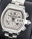 Mens Cartier Roadster Chronograph XL 2618 48mm White Dial Box Papers Straps