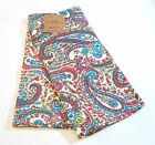 Set/2 April Cornell Cotton Kitchen Tea Towels Paisley Coral Teal Green White NEW