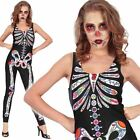 Sexy Skeleton Sugar Skull Day of the Dead Jumpsuit Halloween Fancy Dress Costume