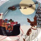 Christmas Dog Sleigh Plate Dinner Holiday David Carter Brown Serving Piece