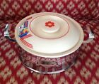 Vintage Homer Laughlin Kitchen Kraft Retro Covered Casserole Dish With Carrier