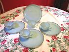 Anchor Hocking Fire King Turquoise Blue Hostess 8 Piece Snack Set 22K