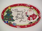 Fitz & Floyd MERRY & BRIGHT Santa & Christmas Tree Small Serving Tray 10