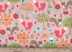 Fabric Pink Forest Friends Owls Fox Trees Flowers Birds 100 Cotton Flannel BTY
