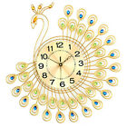 Creative Gold Peacock Large Wall Clock Metal Living Room Wall Watch Home Decor