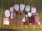 LOT OF RED  PINK SCAPBOOKING SUPPLIES TAGS RIBBON BRADS BUTTONS