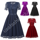Womens Summer Vintage Floral Lace Formal Wedding Cocktail Evening Party Dresses