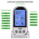 Wireless Remote Oven Meat Thermometer BBQ Kitchen Cooking Timer Dual Probe makeu