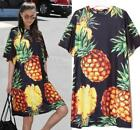 Vogue Womens Floral Short Sleeve Scoop Neck Loose Casual Long T-shirs Tops Dress
