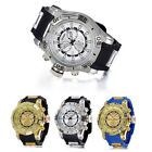 SHHORS Military Male Quartz Watch Date Function Rubber Strap Fashion Round Dial