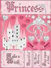 Scrapbooking Crafts Stickers 3D Princess Castle Tiara Wand Beautiful Wish Shoes
