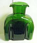 MCM 1950s FORREST GREEN DOUBLE SPOUT SLOTTED WATER PITCHER CARAFE NON BLENKO