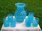 opalescent glass pitcher and glass set inverted thumbprint coinspot , fenton