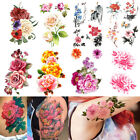 Peony Flowers Phoenix Butterfly Back Waterproof Large Temporary Tattoo Sticker