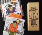 VERY RARE HAPPY HALLOWEEN FRANKENSTEIN Frank Monster wood rubber stamp by DOTS