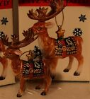 2002 Fitz and Floyd Ceramic Christmas Lodge Deer Ornament MIB Reindeer