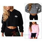 Autumn Long Sleeve Pullover Crop Tops Casual Hooded Cute Lip Printed Sweatshirts