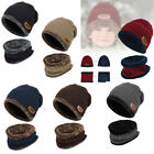 US 2pcs Kids Parents Winter Warm Knitted Hat+Circle Scarf W Fleece Lining Unisex