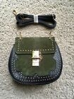 BNWOT Chlo Drew Style Cross Body Bag Green Suede Black Leather Gold Studs