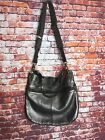 FOSSIL Silver Metallic Pewter Pebbled Leather Slouchy Shoulder Crossbody Purse