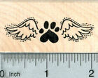 Heart Paw Print Rubber Stamp Pet Loss Angel Wings E32705 WM