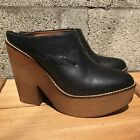 FREE PEOPLE wood  leather clogs slides black leather stacked heel 95 40 M