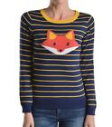 Women's Cute Fox Jacquard Cotton Blend Sweater, Vintage Inspired by Mak:3279