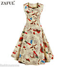 ZAFUL Women 1950s 60s Vintage Floral Style Rockabilly Cocktail Party Swing Dress