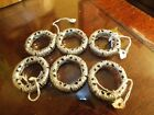 Vintage Mid Century Modern Napkin Rings Lot of 6 Abstract Silver Tone Metal