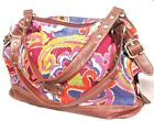 RELIC BRAND by Fossil Satchel Bag Pink Blue Floral Paisley Canvas Faux Leather