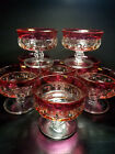 VINTAGE INDIANA GLASS KINGS CROWN THUMBPRINT RUBY RED FLASH SHERBET CUPS