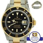 Rolex Submariner 16613 Two-Tone Yellow Gold Stainless Black Date Dive 40mm Watch