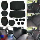 11pcs Black  Red Full Set Car Front+Rear 5 Seat Seat Cover Interior Accessories