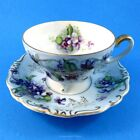 Hand Decorated Violets on Light Blue Shafford Demitasse Tea Cup and Saucer Set
